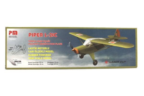 PM 2009 Piper L 21C - Rubber Powered Balsa Model Airplane Kit