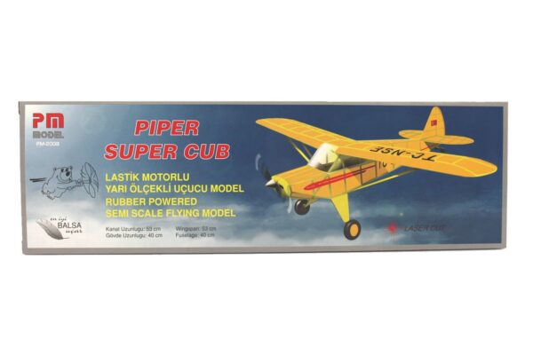 PM 2008 Piper Super Cub - Rubber Powered Balsa Model Airplane Kit